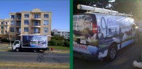 Our landscape service trucks in Victoria